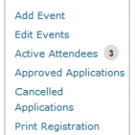 Events Admin Menu