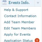 Events Info User menu