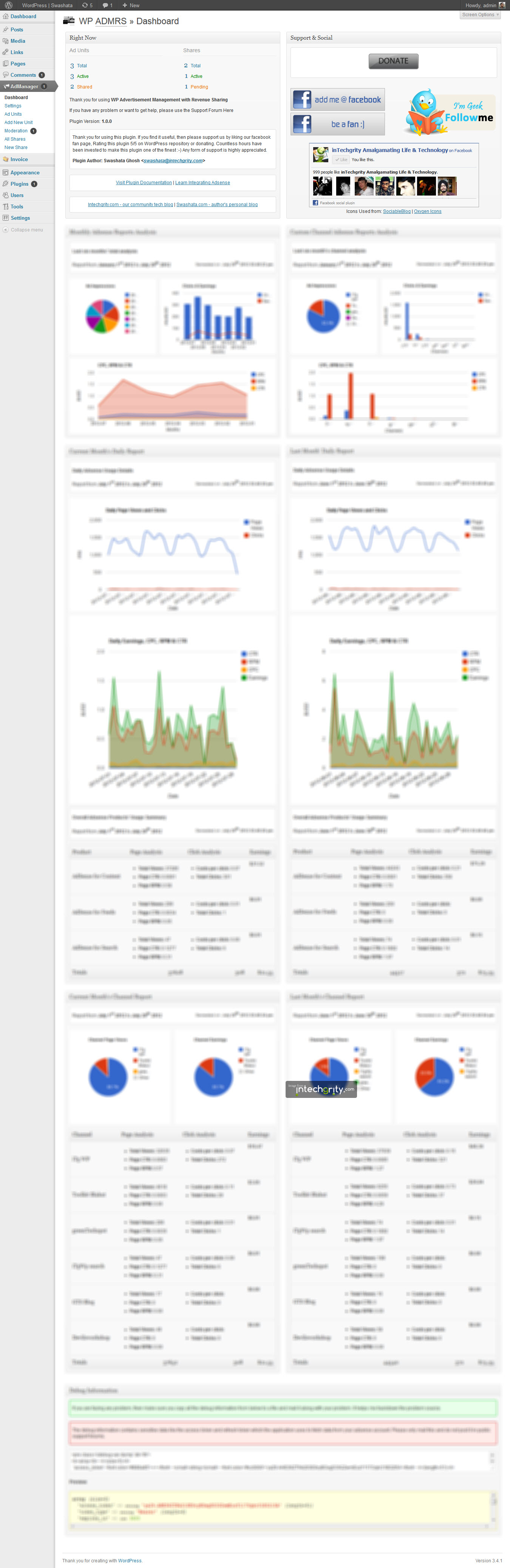 WP ADMRS Dashboard