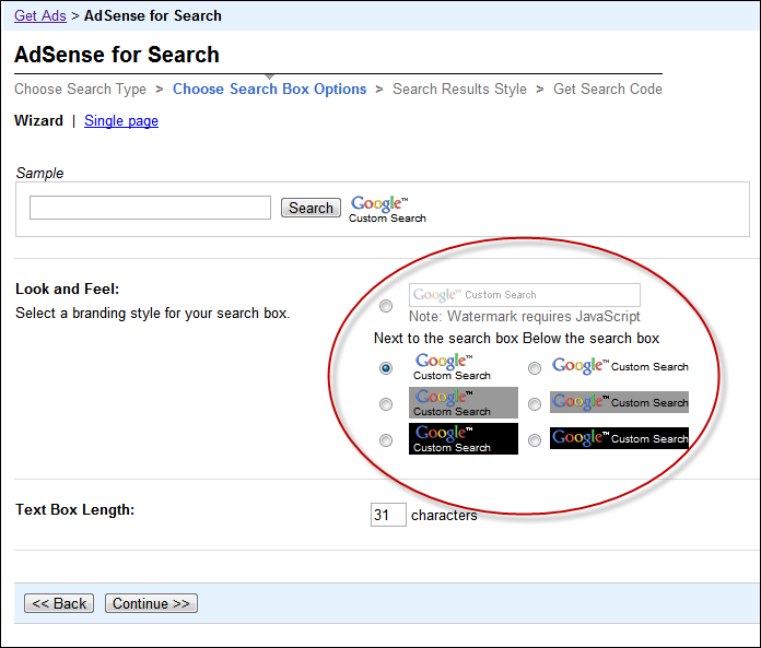 Adsense for Search on Wordpress using Custom Page Template