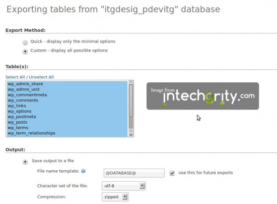 phpMyAdmin - Create zipped SQL dump file