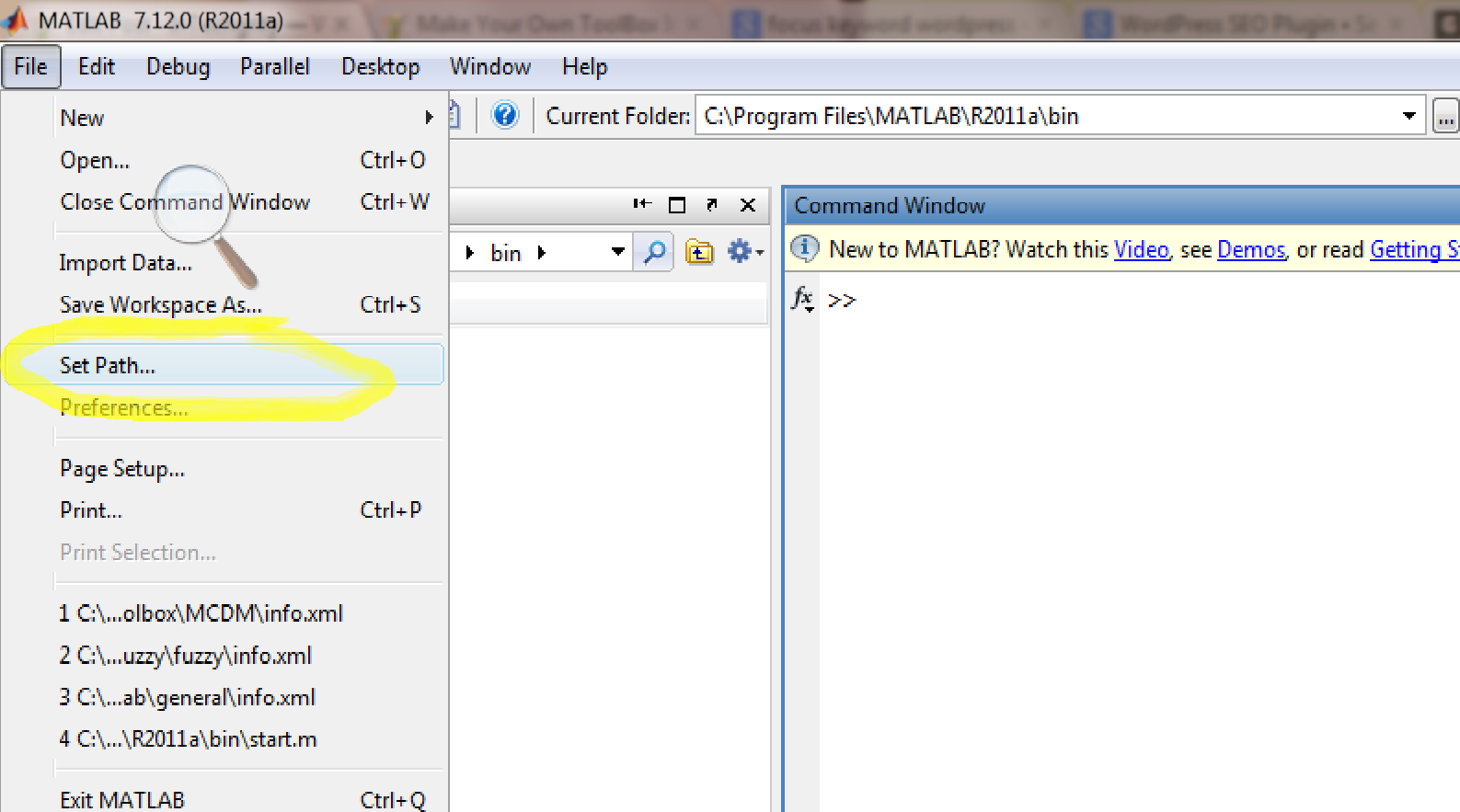How to Set Path a particular document in Matlab -Matlab Toolbox
